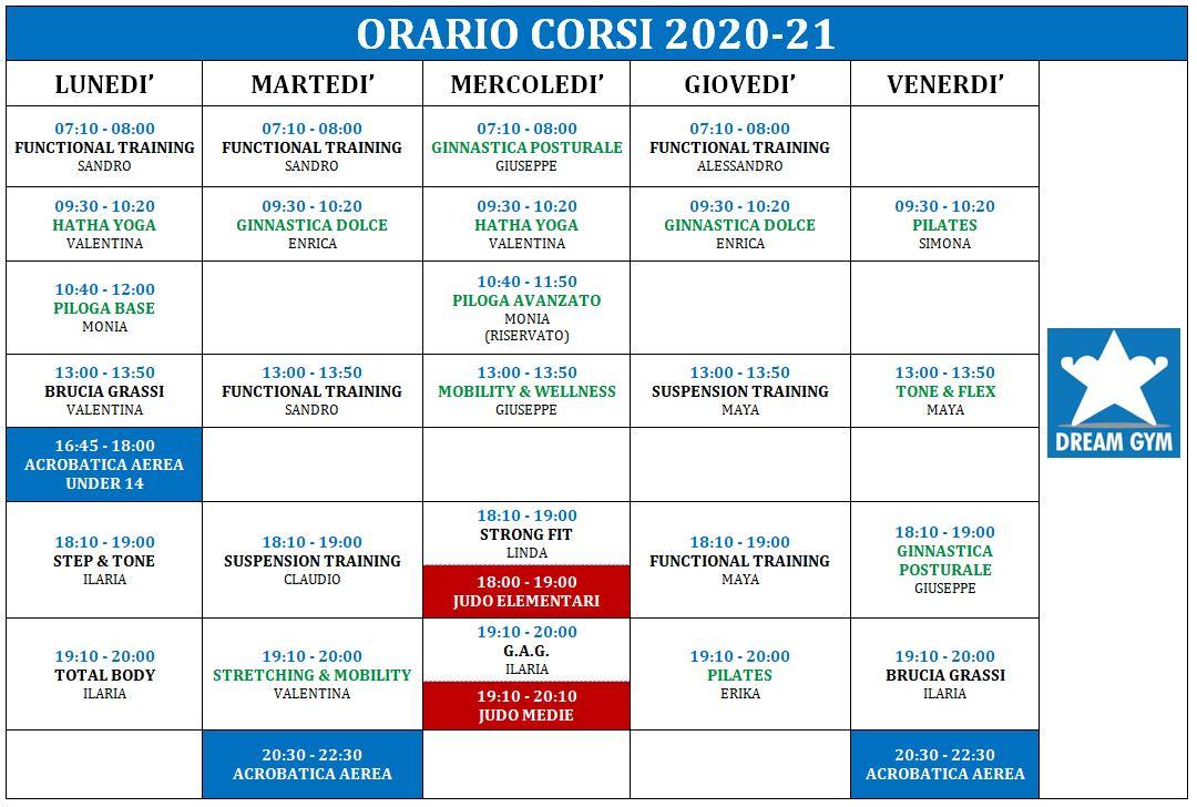 ORARIO CORSI 2020-21!